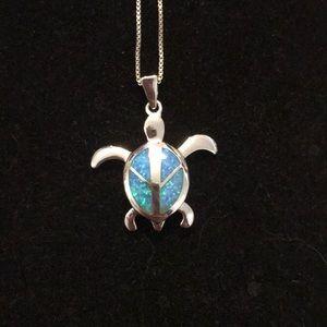 Blue opal turtle necklace 925